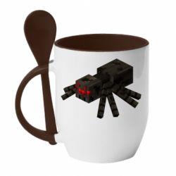 Кружка з керамічною ложкою Minecraft spider
