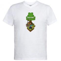 Мужская футболка  с V-образным вырезом Minecraft Steve - FatLine