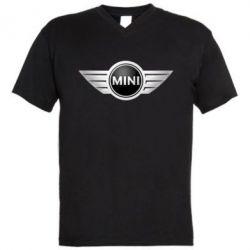 Мужская футболка  с V-образным вырезом Mini Cooper - FatLine