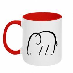Кружка двухцветная 320ml Minimalistic elephant