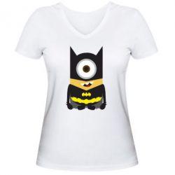 Женская футболка с V-образным вырезом Minion Batman - FatLine