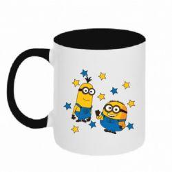 Кружка двоколірна 320ml Minions and stars