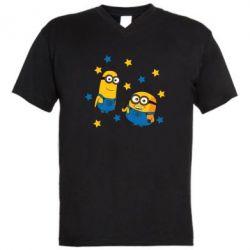 Чоловіча футболка з V-подібним вирізом Minions and stars