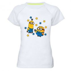 Жіноча спортивна футболка Minions and stars