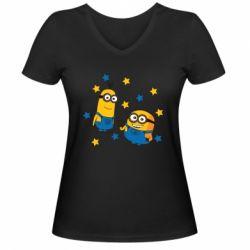 Жіноча футболка з V-подібним вирізом Minions and stars
