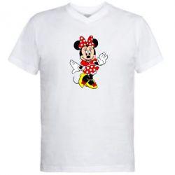 Мужская футболка  с V-образным вырезом Минни Красавица - FatLine
