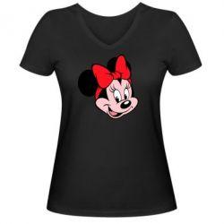 Женская футболка с V-образным вырезом Минни Маус - FatLine