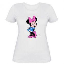Женская футболка Минни стесняется