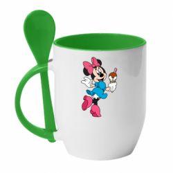 Кружка с керамической ложкой Minnie Mouse and Ice Cream
