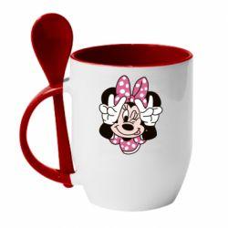 Кружка з керамічною ложкою Minnie Mouse