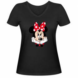 Женская футболка с V-образным вырезом Minnie