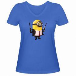 Женская футболка с V-образным вырезом Миньон Хитман - FatLine