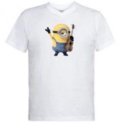 Мужская футболка  с V-образным вырезом Миньон с гитарой - FatLine