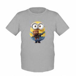 Детская футболка Миньон с мишкой