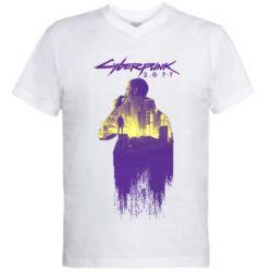 Мужская футболка  с V-образным вырезом Мир Cyberpunk 2077