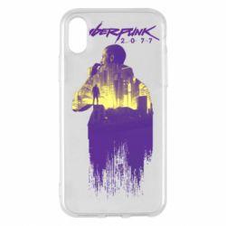 Чехол для iPhone X/Xs Мир Cyberpunk 2077