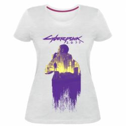 Женская стрейчевая футболка Мир Cyberpunk 2077