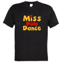Мужская футболка  с V-образным вырезом Miss Pole Dance - FatLine