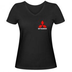Женская футболка с V-образным вырезом Mitsubishi small - FatLine