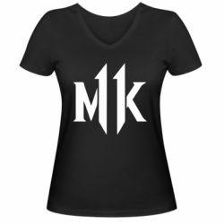 Жіноча футболка з V-подібним вирізом Mk 11 logo
