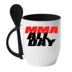 Кружка с керамической ложкой MMA All day