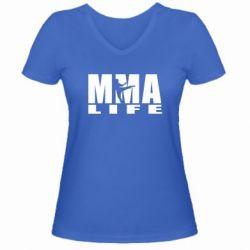 Женская футболка с V-образным вырезом MMA Life - FatLine