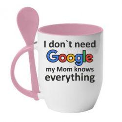 Кружка с керамической ложкой Мне не нужен гугл 2