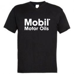 Мужская футболка  с V-образным вырезом Mobil Motor Oils - FatLine