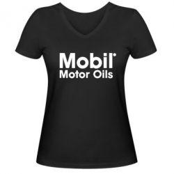 Женская футболка с V-образным вырезом Mobil Motor Oils - FatLine