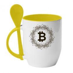 Купить Кружка с керамической ложкой Modern bitcoin, FatLine