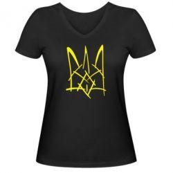 """Женская футболка с V-образным вырезом """"Молодіжний герб"""" - FatLine"""