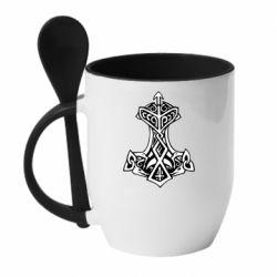 Кружка з керамічною ложкою Молот тора візерунок
