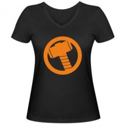 Женская футболка с V-образным вырезом Молот Тора