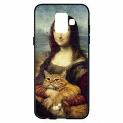 Купить Кот, Чехол для Samsung A6 2018 Mona Lisa and the cat, FatLine