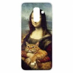 Купить Кот, Чехол для Samsung A6+ 2018 Mona Lisa and the cat, FatLine