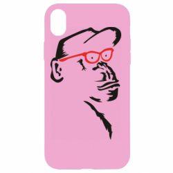 Чохол для iPhone XR Monkey in red glasses