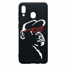 Чохол для Samsung A20 Monkey in red glasses