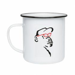 Кружка емальована Monkey in red glasses