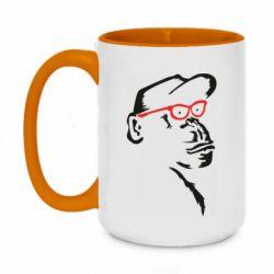 Кружка двоколірна 420ml Monkey in red glasses