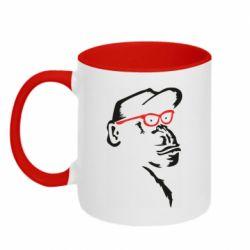 Кружка двоколірна 320ml Monkey in red glasses