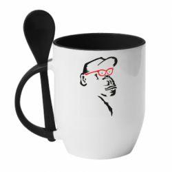 Кружка з керамічною ложкою Monkey in red glasses