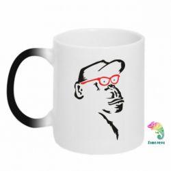 Кружка-хамелеон Monkey in red glasses