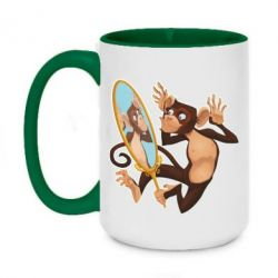 Кружка двоколірна 420ml Monkey playing with a mirror