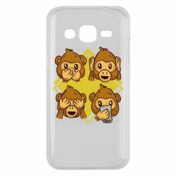 Чехол для Samsung J2 2015 Monkey See Hear Talk