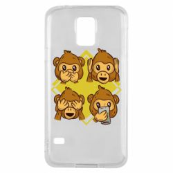 Чехол для Samsung S5 Monkey See Hear Talk