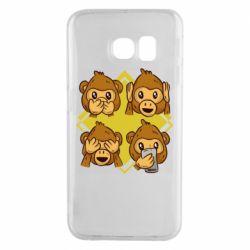Чехол для Samsung S6 EDGE Monkey See Hear Talk