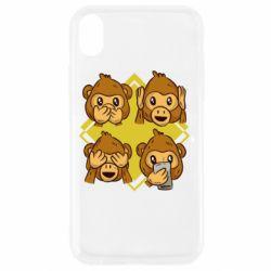 Чехол для iPhone XR Monkey See Hear Talk