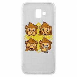 Чехол для Samsung J6 Plus 2018 Monkey See Hear Talk
