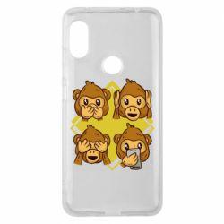 Чехол для Xiaomi Redmi Note 6 Pro Monkey See Hear Talk