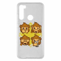 Чехол для Xiaomi Redmi Note 8 Monkey See Hear Talk